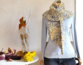 Hand Knit Scarf Alpaca/Cormo Wool Multicolor Hand Spun Bulky