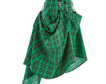 Green Black Plaid Tartan  SteamPunk Victorian Bustle Custom Made  Skirt