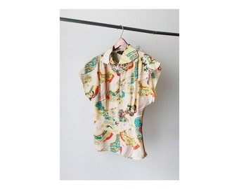 1990's Sheer Silk Japanese Cap Sleeves Blouse