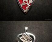 Guitar pick holder pendant - Rose  - Sterling Silver
