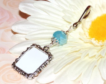 Wedding bouquet photo charm with Light blue crystal & Small picture frame. Bridal bouquet charm Something blue. Memorial photo.