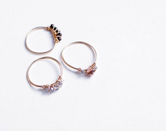 Rose Gold Ring with Crystals - 14K Gold Filled - Delicate Stacking Ring - Bridesmaids Gifts - Minimalist Jewelry - Wedding Jewelry