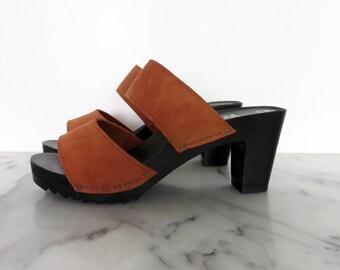 SALE // Rare Swedish Leather Platform Sandals Saga Clogs Wood Slides Black Orange Strappy Mules Size 8.5  9