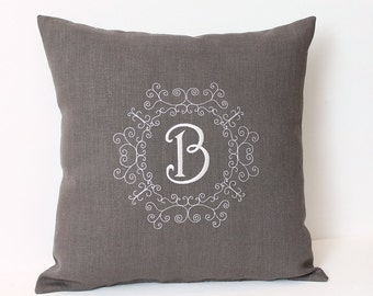 Personalized cushion Monogram pillow Dark grey Linen Embroidered monogrammed pillow 14x14 Pillow with insert Embroidered letters Family