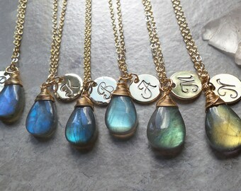 Labradorite necklace, personalized jewelry, custom hand stamped inital charm and teardrop gemstone pendant, birthday gifts for her