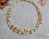 Long Layering Necklace, Bohemian Necklace, Boho Jewelry, Beaded Necklace, Multicolor Layered and Long Everyday Necklace, Mothers Day Gift