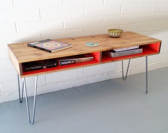 Mid Century Modern Coffee Table, Hairpin Legs, Desk, TV, Entertainment, Media Cabinet, Console, Stand, Storage, Shelf