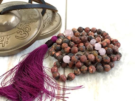 Leopard Skin Jasper Mala Necklace, Mala To Help Build Strength, 108 Bead mala, Yoga Meditation Beads, Rose Quartz Mala With Silk Tassel