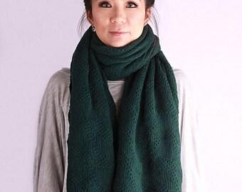 Wedding shawl, knit scarf, oversized scarf, winter shawl, knit shawl,bohemian scarf, knit wrap, scarf, knit scarf in dark green, ocean wave
