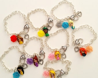 Princess disney inspired bracelet with flower,Disney Princesses inspired. Disney Keyring Disney jewelry. Clay charm. Choose your Princess
