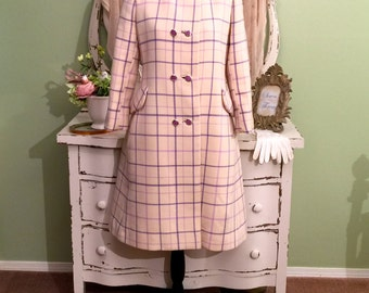 60s Minimalist Wool Coat, 1960s Princess Coat, Plaid Wool Coat, Womens Outerwear, Off White Lavender, Long Chic Vintage Coat, Size  Small
