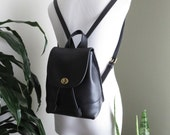 Vintage COACH Backpack Small Black Brass Hardware Glove Tanned Cowhide Leather Daypack 1990s