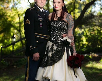 Gothic Wedding Dress Pale Yellow and Black French lace