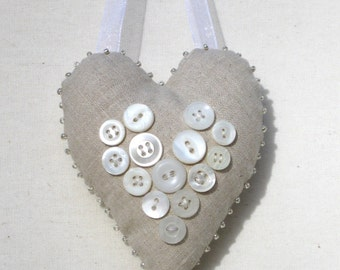 Natural linen heart ornament with vintage buttons