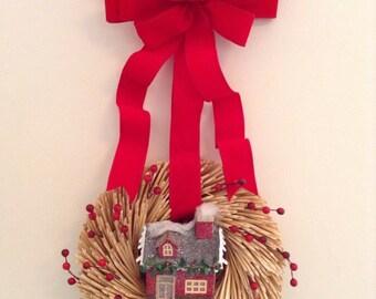 Christmas Wreath / Wicker Wreath /  Xmas Small Wreath / Christmas Wicker Wreath / Xmas Door Hanger / Handmade