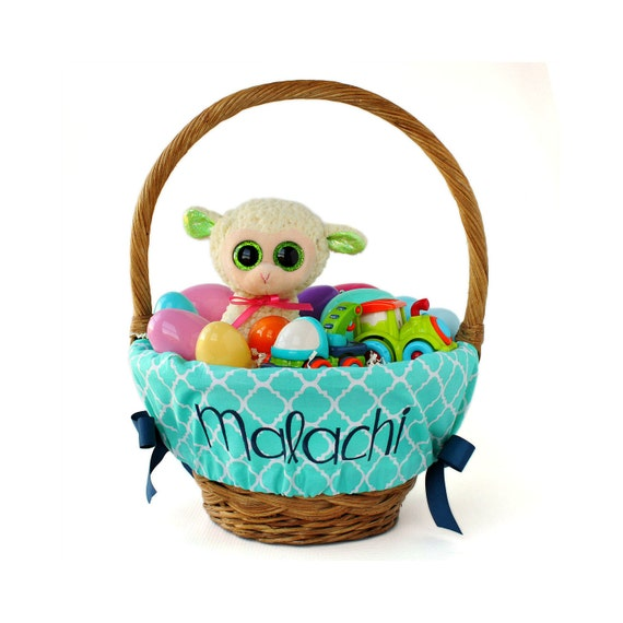 Personalized Easter Basket Liner Teal Trellis By