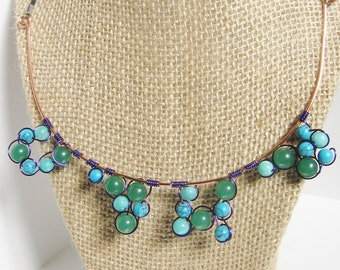 Wire Bubble Necklace; Wire Statement Necklace, Green & Blue Necklace, Adventurine Necklace