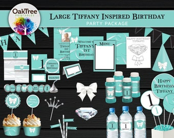 Large Tiffany Inspired Birthday Party Package Set - Robin's Egg Blue - Tiffany Green - Printable - DIY - Invitation Included - 25 Items