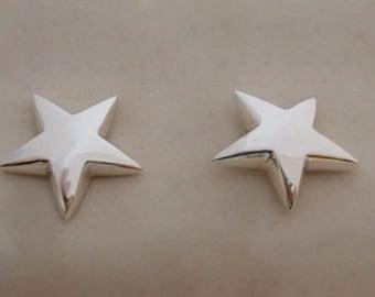 925 Sterling Silver Big Star Stud Earrings, 15 mm Diameter