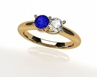 MAMA His & Hers Couples Lucita Birthstone Ring in Sterling Silver, 10k or 14k, White, Yellow or Rose Gold