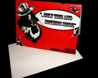 "Edgar Allen Poe ""The Raven"" Themed Blank Note Card, Original Art"