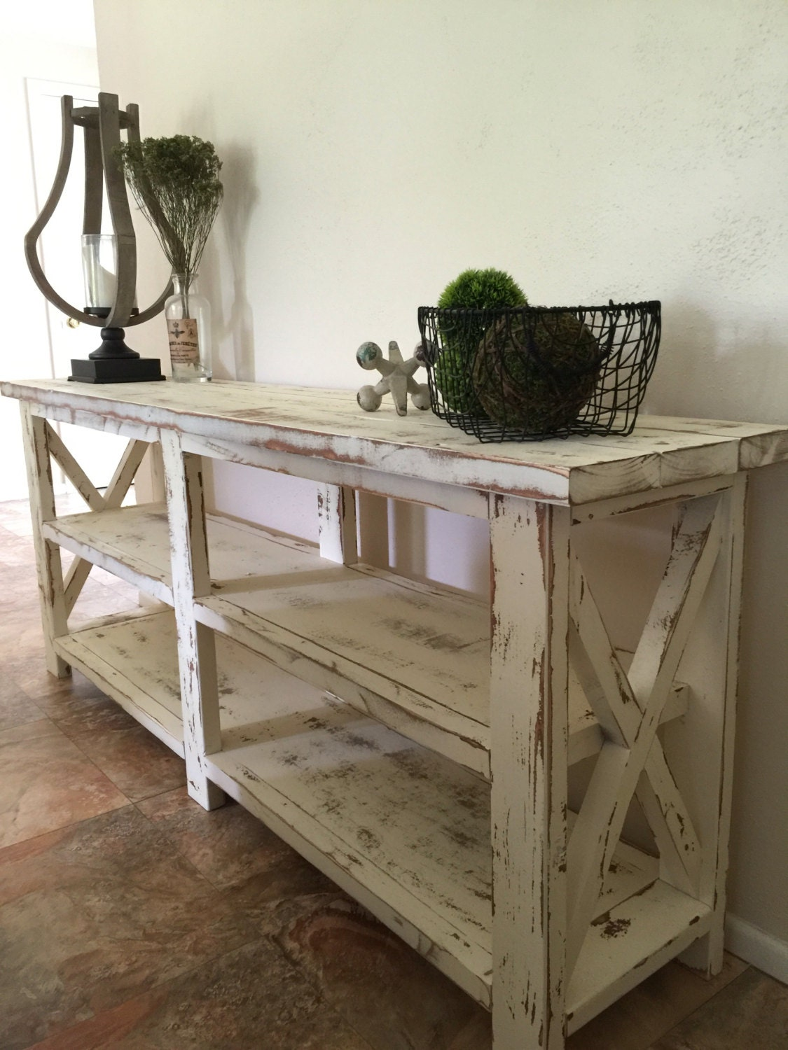 Farmhouse console entryway foyer table for Entry wall table