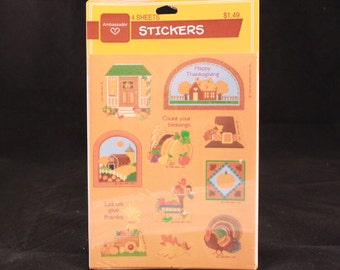 Sealed Vintage 1990 Hallmark Thanksgiving 4 Sheet Sticker Package