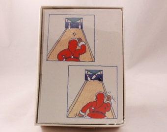 Hallmark Christmas Cards. 25 Cards and 26 Envelopes. Santa Bowling