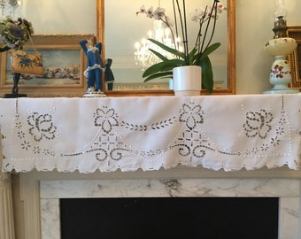 "Antique Victorian Valance 1880 to 1900 Hand Embroidered Scalloped 1 Y 17 Long X 17""Use for home decor, sewing ,shabby chic ,curtain ,blind."