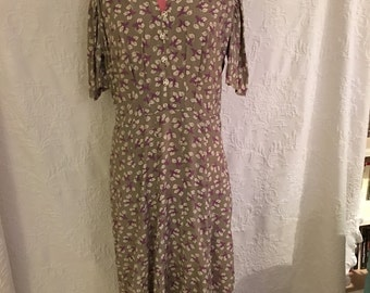Vintage Dress / Below the Knee / Floral / Short Sleeve / Casual Party Dress