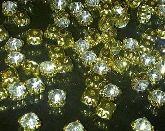100 X 4.3mm SS18 Sew on Clear Gold Set Glass Crystal Diamante Rhinestone Craft