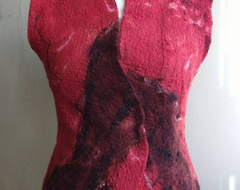 Red felted women vest - fall nuno felt waistcoat - fall felted vest - nuno felt clothing - Christmas gift for her - ooak felt art to wear