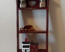 Red Wooden Shelf, Red Shabby Curio, Rustic Red Display Shelf, Farmhouse Shelf, French Shabby,  Upcycled Shelf