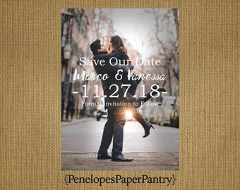 Photo Save The Date Card,Wedding,#Engaged, Romantic,Modern,Simple,Elegant,Sophisticated,Customizable With White Envelopes