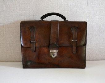 Vintage leather satchel / old schoolbag 50s