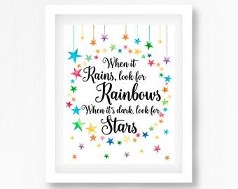 Star Nursery Decor, Rainbow Baby Print, When It Rains Look For Rainbows Print, Inspirational Quote Print, Rainbow Baby Shower Gift, New Baby