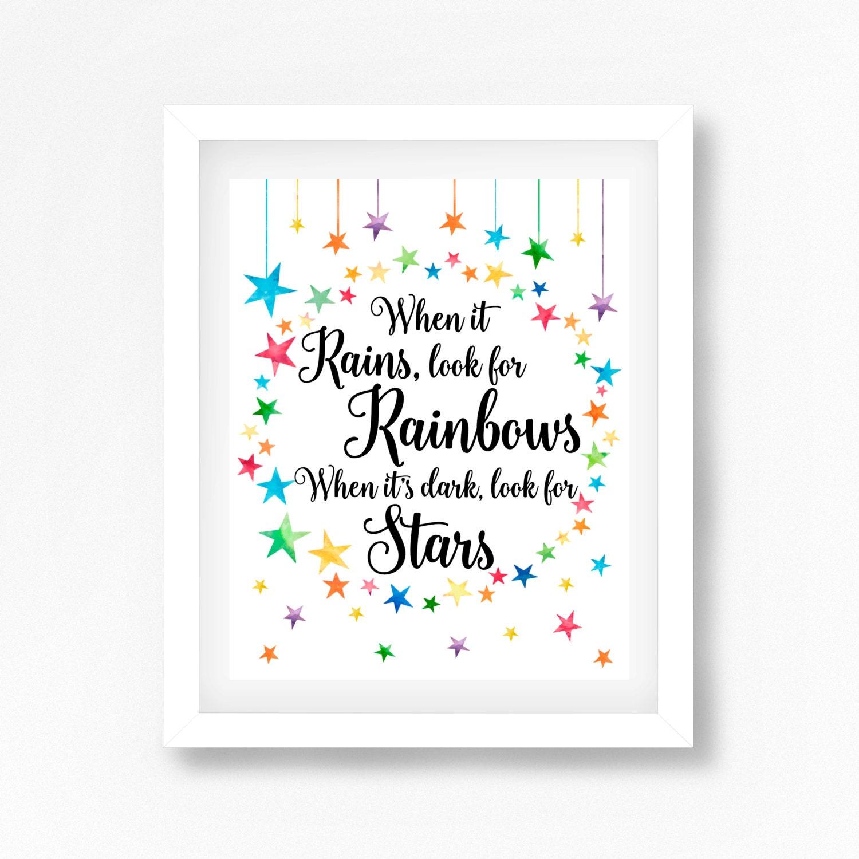 star nursery decor rainbow baby print when it rains look for