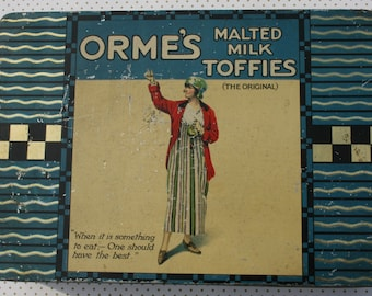 Superb Orme's Malted Milk Toffies tin with Edwardian damsel