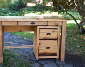 Reclaimed Wood Desk and Rolling File Cabinet