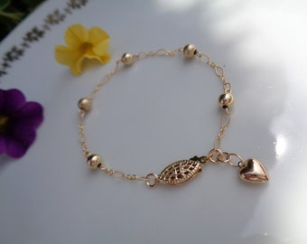 Gold Bracelet with balls and hearts in the closure, 585 goldfilled, delicately worked