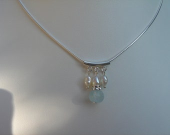 925 Silver necklace with aquamarine & beads, very xtravagant!