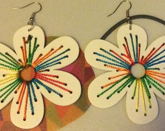Wooden costume colourful earrings