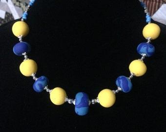 Sunday - Handmade Bright Yellow & Blue Statement Necklace