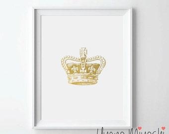 Vintage Crown Gold Foil Print, Gold Print, Custom Print in Gold, Illustration Art Print, Crown Gold Foil Art Print, Crown Gold Print