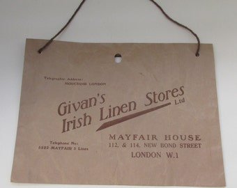 Vintage 1930s Shop Paper Bag -Givan's Irish Linen Stores, Bond Street, London - Vintage Retail