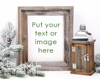 Christmas Frame / Wood Frame / Christmas Styled Stock Image / Empty Frame / Photo Display / Frame Background /  Background / StockStyle-744