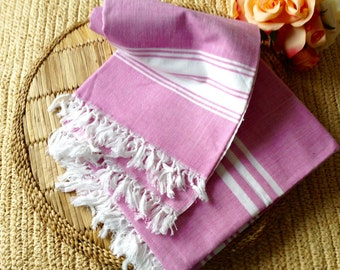 100% Cotton Handwoven Towel in Pink broad stripes
