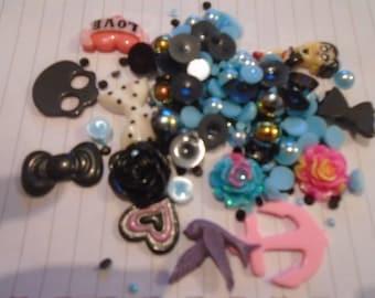 Black and colour Decoden / embellishment bundle