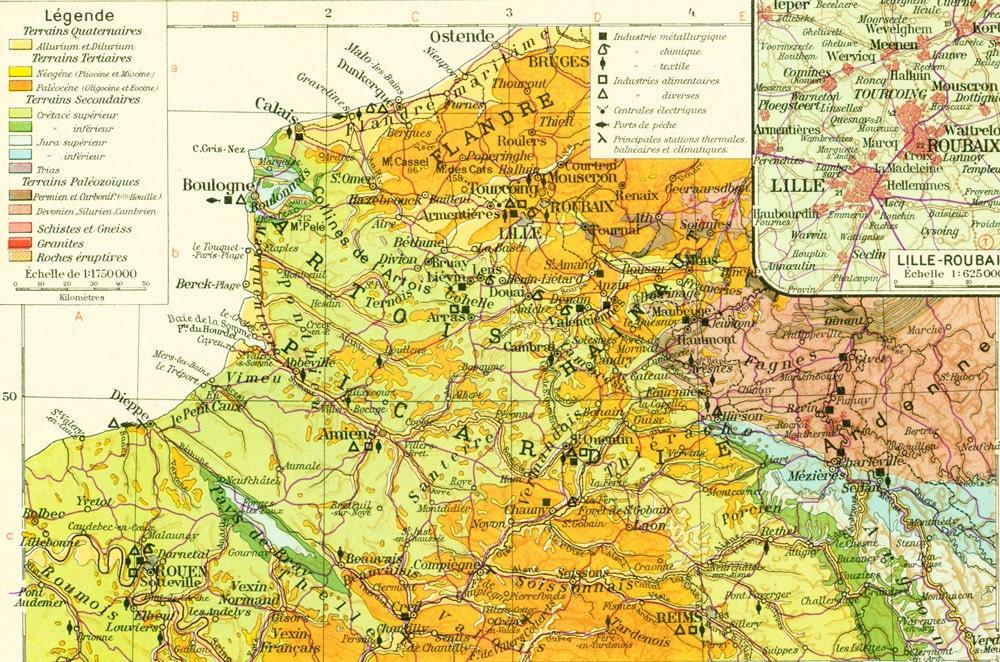 1950 Carte geologique Du Nord de La France Geologie des