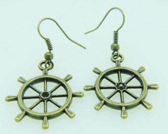 wheel earrings wheel jewelry wheel charm earrings antique bronz earrings jewelry jewellery gift